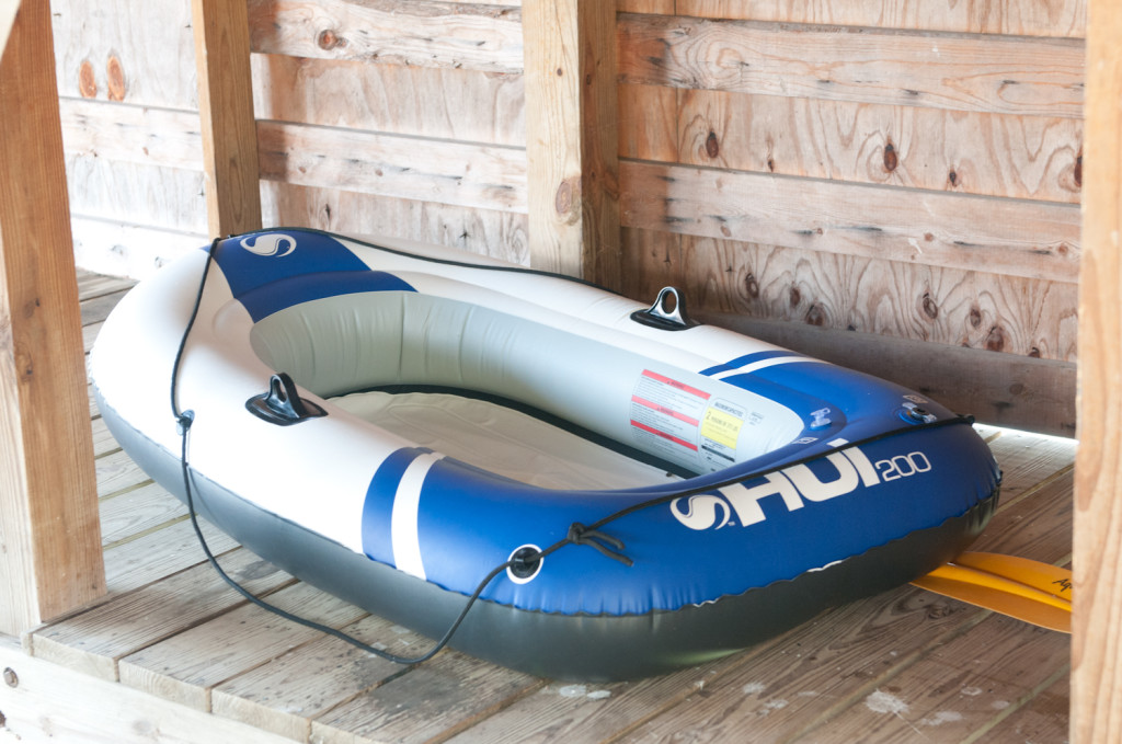 If it hasn't sprung a leak, we sometimes also have inflatable rafts around (or you can bring one - they're inexpensive!)