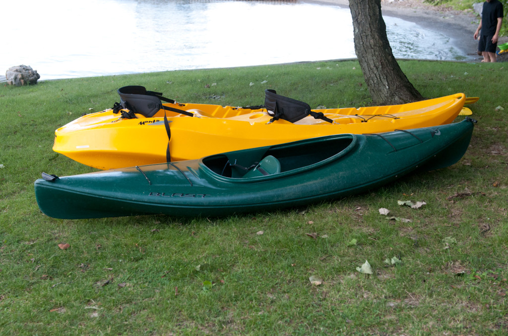 We have a tandem kayak and a single kayak and paddles available for your use.